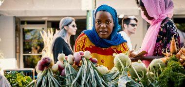 african women in a European market