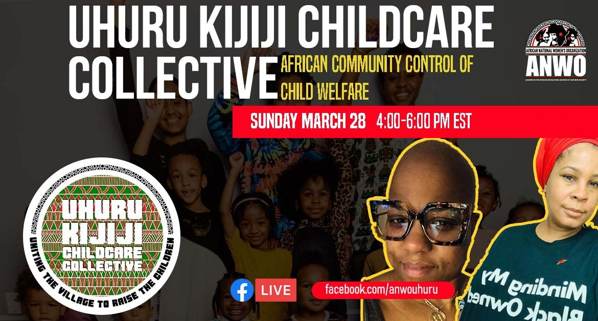graphic highlighting speakers for the event African community control of child welfare