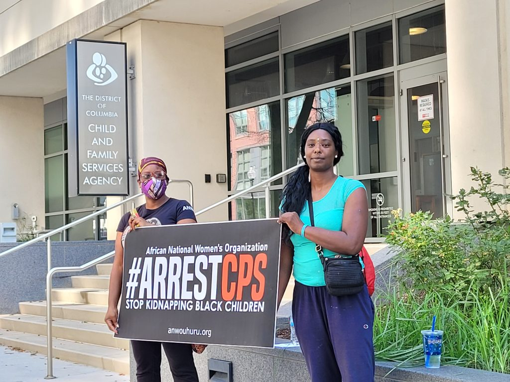 protest outside of DC's CFSA building during ANWO's  National Day of Action on August 27th